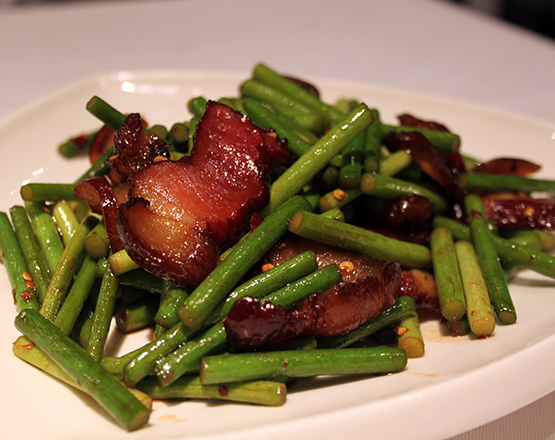 Stir fried smoked porc belly