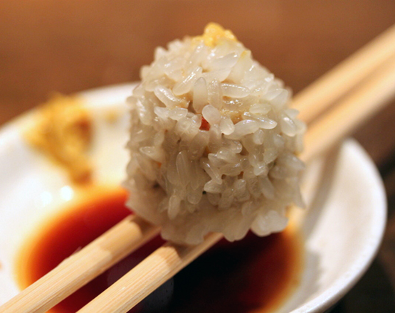 Seamed Rice ball and meat