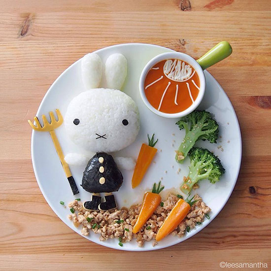 Conejito de arroz y zanahorias Samantha Lee Bento