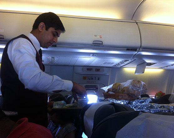 comer en un avión
